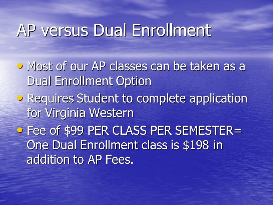 AP versus Dual Enrollment Most of our AP classes can be taken as a Dual Enrollment Option Most of our AP classes can be taken as a Dual Enrollment Opt