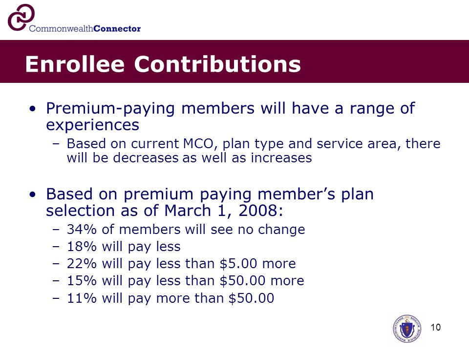 10 Enrollee Contributions Premium-paying members will have a range of experiences –Based on current MCO, plan type and service area, there will be decreases as well as increases Based on premium paying member's plan selection as of March 1, 2008: –34% of members will see no change –18% will pay less –22% will pay less than $5.00 more –15% will pay less than $50.00 more –11% will pay more than $50.00