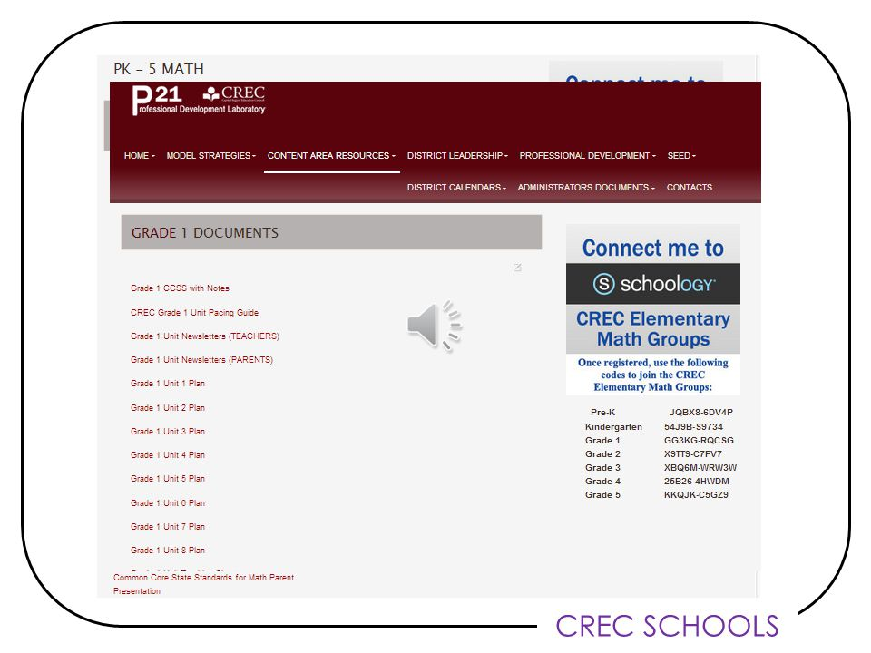 CREC SCHOOLS Math Curriculum: WHERE P21 has been reorganized – www.crec.org/P21 www.crec.org/P21