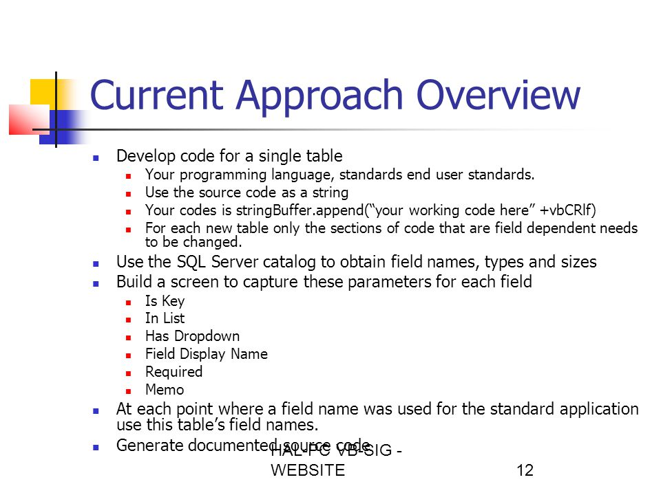 HAL-PC VB-SIG - WEBSITE12 Current Approach Overview Develop code for a single table Your programming language, standards end user standards.