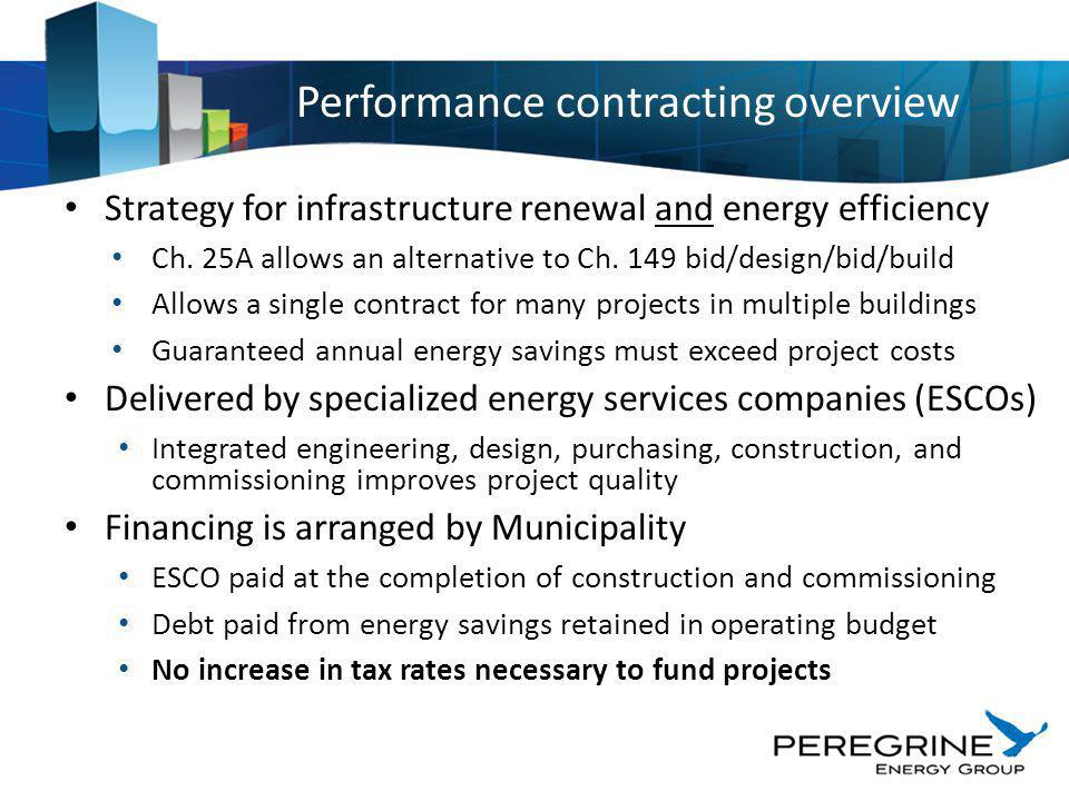 Strategy for infrastructure renewal and energy efficiency Ch. 25A allows an alternative to Ch. 149 bid/design/bid/build Allows a single contract for m