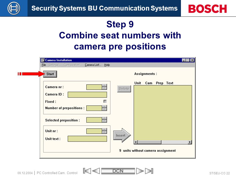Security Systems BU Communication SystemsDCN ST/SEU-CO 22 PC Controlled Cam.