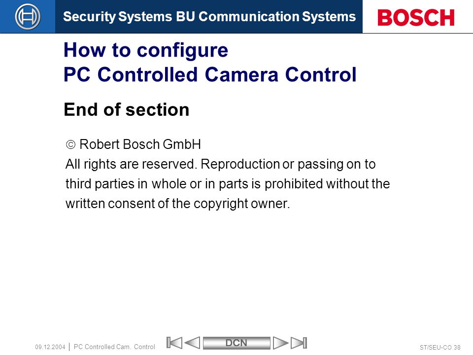 Security Systems BU Communication SystemsDCN ST/SEU-CO 38 PC Controlled Cam.