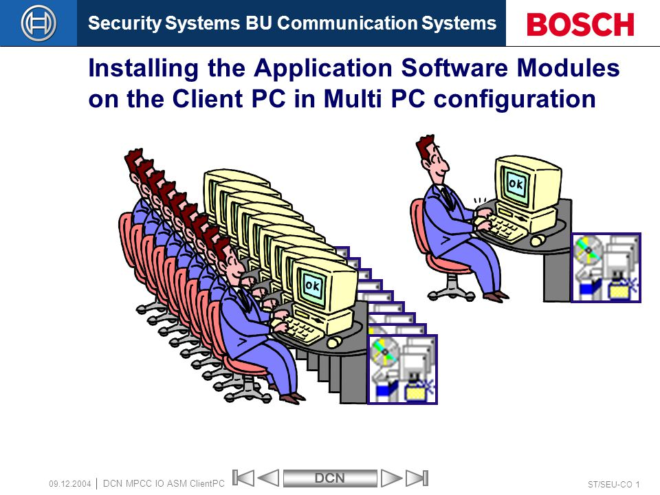 Security Systems BU Communication SystemsDCN ST/SEU-CO 22 DCN MPCC IO ASM ClientPC 09.12.2004 Multi PC Configuration program Step – 7 on the Client-PC activate OK