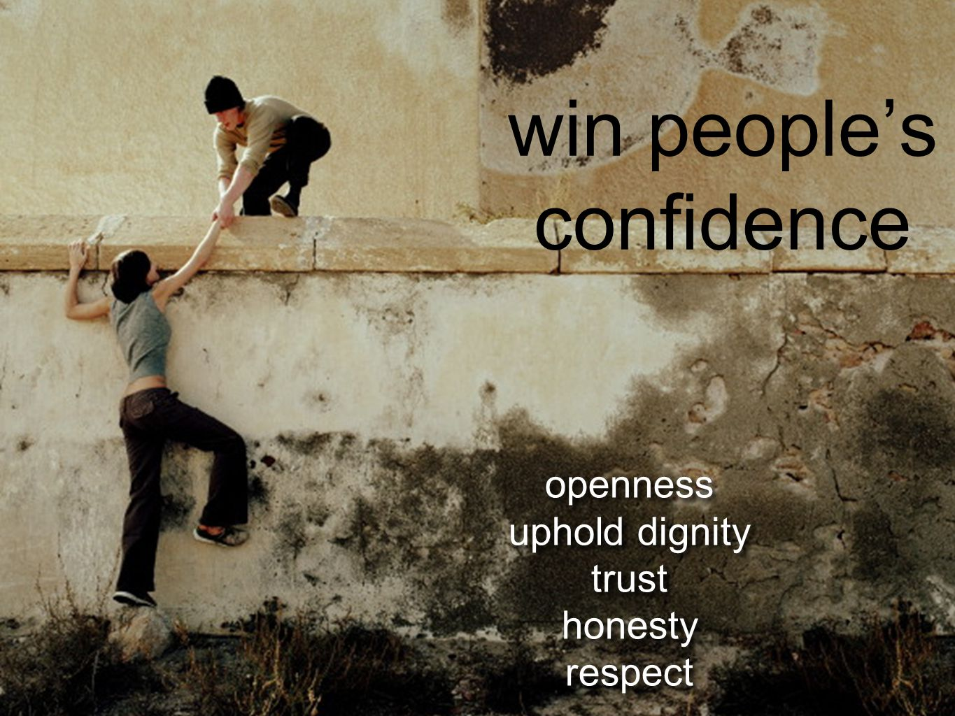 openness uphold dignity trust honesty respect openness uphold dignity trust honesty respect win people's confidence