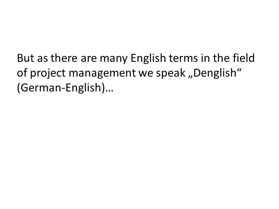 "But as there are many English terms in the field of project management we speak ""Denglish (German-English)…"