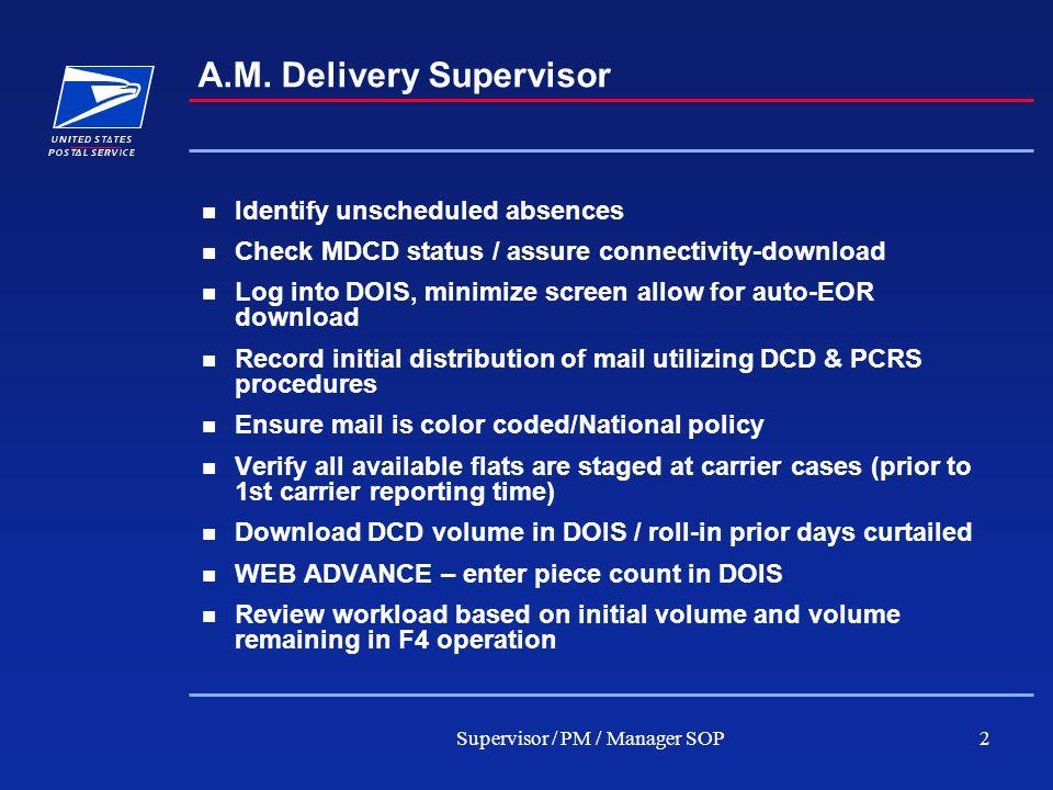 Supervisor / PM / Manager SOP3 A.M.