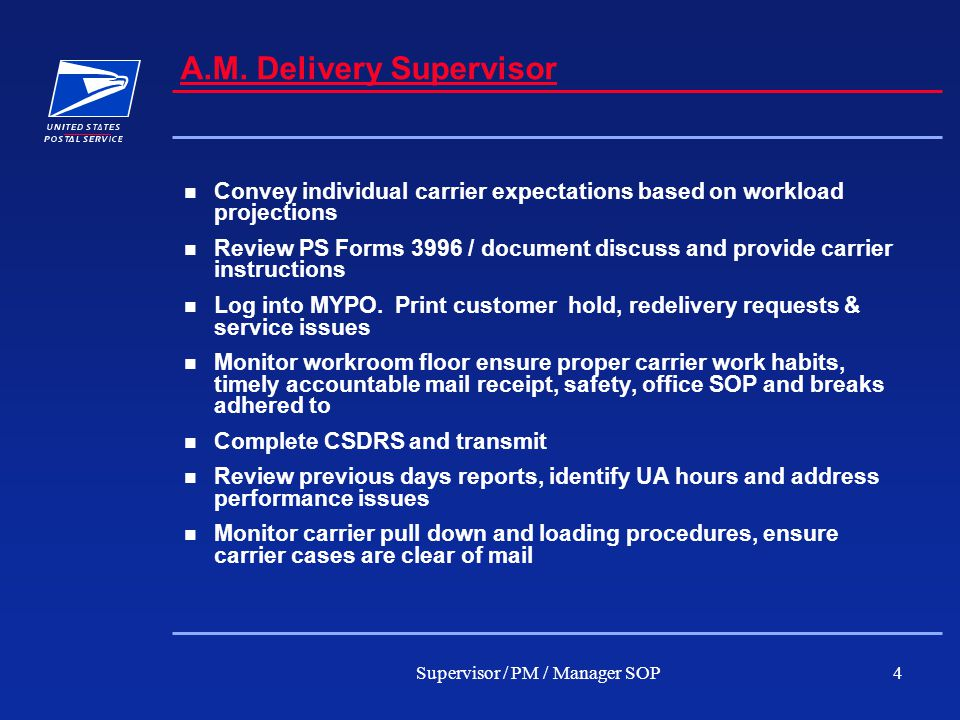 Supervisor / PM / Manager SOP4 A.M.