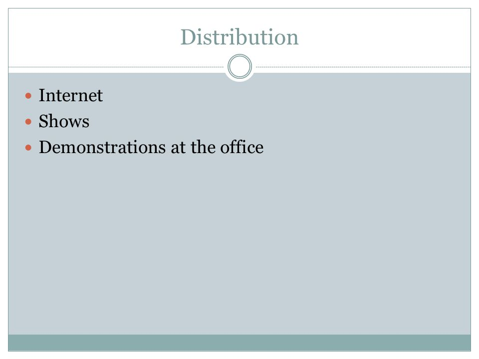 Distribution Internet Shows Demonstrations at the office