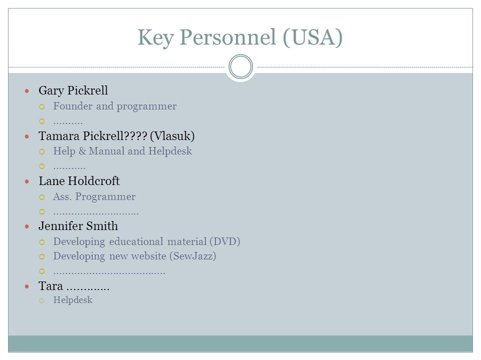 Key Personnel (USA) Gary Pickrell  Founder and programmer .......... Tamara Pickrell???? (Vlasuk)  Help & Manual and Helpdesk ........... Lane Hol