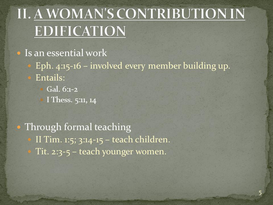 Is an essential work Eph. 4:15-16 – involved every member building up.