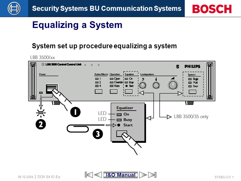 Security Systems BU Communication Systems ST/SEU-CO 1 DCN SA IO Eq 06.12.2004 Equalizing a System System set up procedure equalizing a system I&O Manu