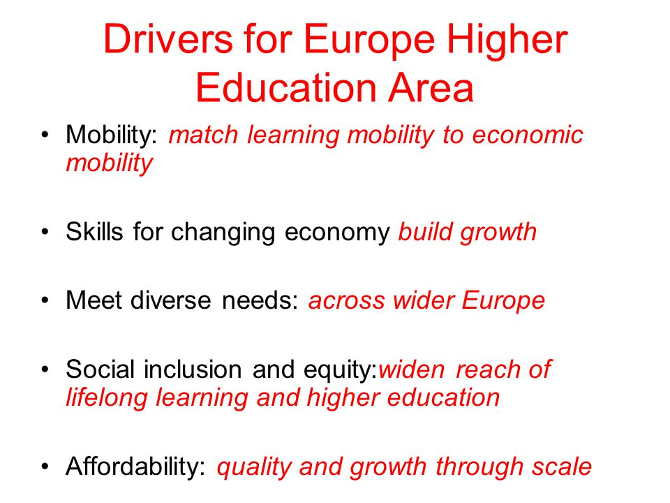 Drivers for Europe Higher Education Area Mobility: match learning mobility to economic mobility Skills for changing economy build growth Meet diverse