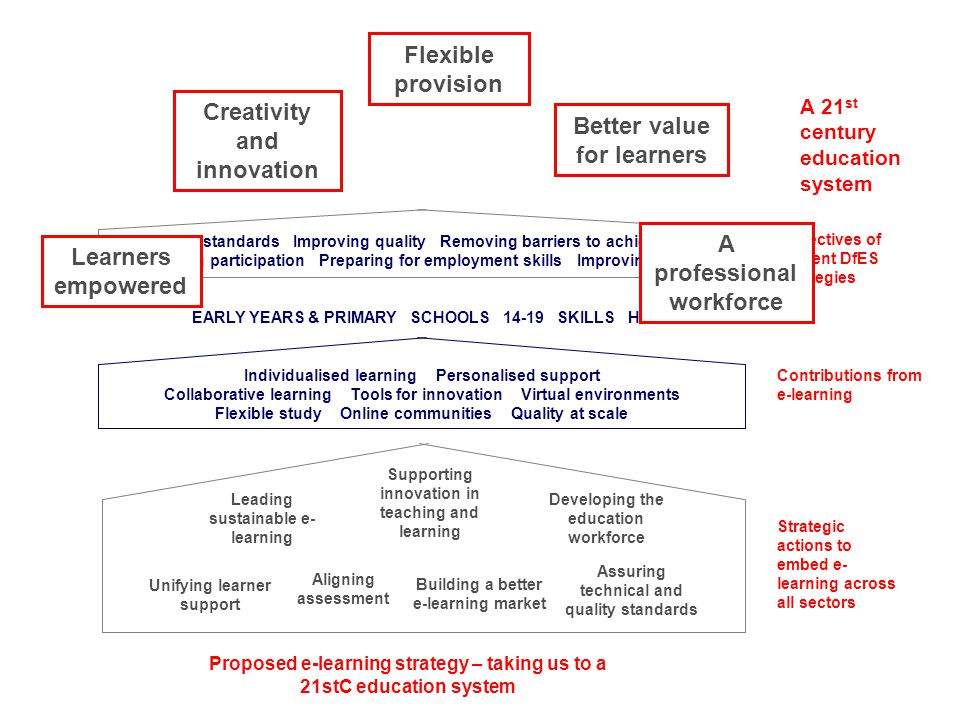 A 21 st century education system Objectives of current DfES strategies Contributions from e-learning Strategic actions to embed e- learning across all sectors Proposed e-learning strategy – taking us to a 21stC education system Leading sustainable e- learning Supporting innovation in teaching and learning Developing the education workforce Building a better e-learning market Aligning assessment Assuring technical and quality standards Unifying learner support Raising standards Improving quality Removing barriers to achievement Widening participation Preparing for employment skills EARLY YEARS PRIMARY SECONDARY 14-19 SKILLS POST-16 HE Learners empowered Creativity and innovation Flexible provision Better value for learners A professional workforce Individualised learning Personalised support Collaborative learning Tools for innovation Virtual environments Flexible study Online communities Quality at scale Raising standards Improving quality Removing barriers to achievement Improving choice Widening participation Preparing for employment skills