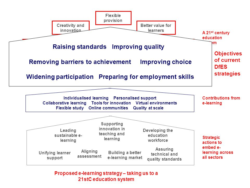 A 21 st century education system Objectives of current DfES strategies Contributions from e-learning Strategic actions to embed e- learning across all