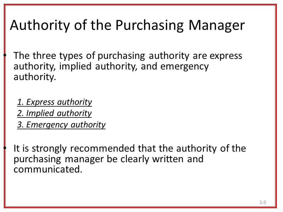 3-9 Authority of the Purchasing Manager The three types of purchasing authority are express authority, implied authority, and emergency authority. 1.