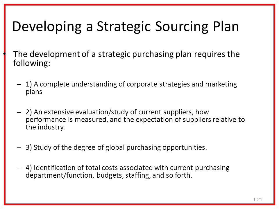 1-21 Developing a Strategic Sourcing Plan The development of a strategic purchasing plan requires the following: – 1) A complete understanding of corp