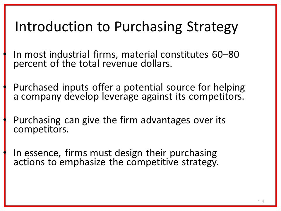 1-5 Purchasing and Competitive Strategy Linkage Purchasing professionals are expected to develop options that can help business units remain competitive.