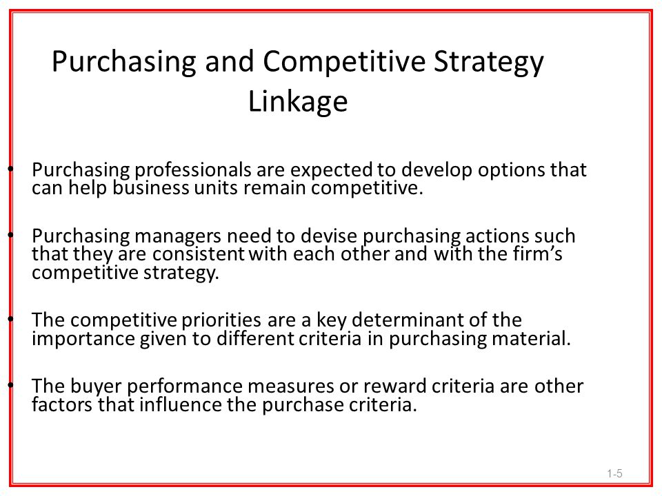 1-26 Purchasing and Strategy Trends The NAPM and Center for Advanced Purchasing Studies produced a study entitled The Future of Purchasing and Supply: A Five- and Ten-Year Forecast. The 1998 study reported the results of a comprehensive survey on the evolving responsibilities of the purchasing function during the periods between 1998 and 2008.