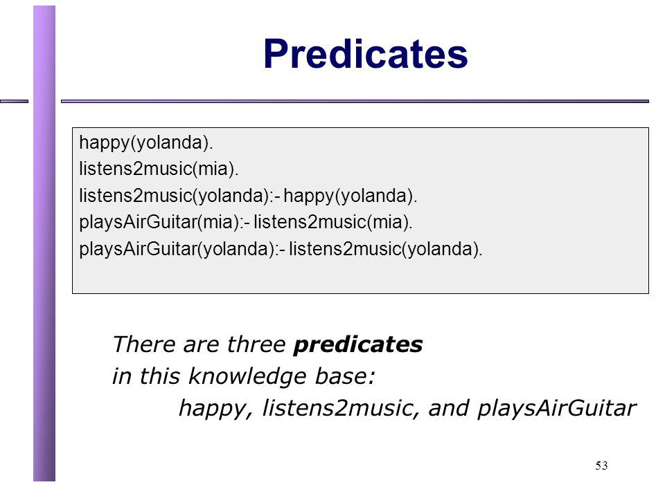 53 Predicates happy(yolanda).listens2music(mia). listens2music(yolanda):- happy(yolanda).