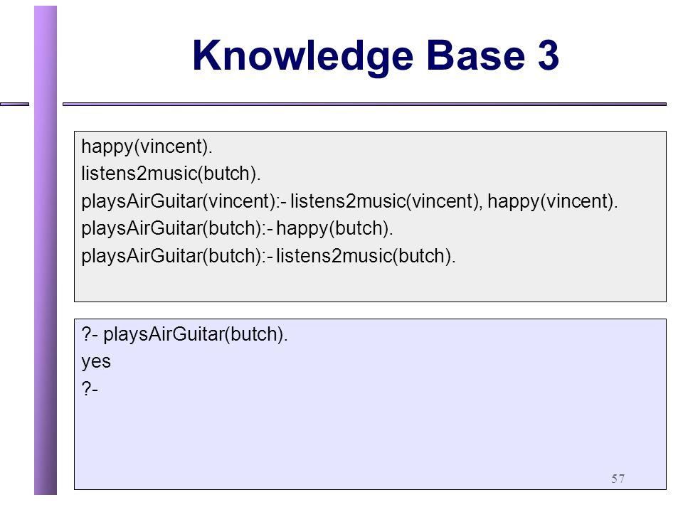 57 Knowledge Base 3 happy(vincent).listens2music(butch).
