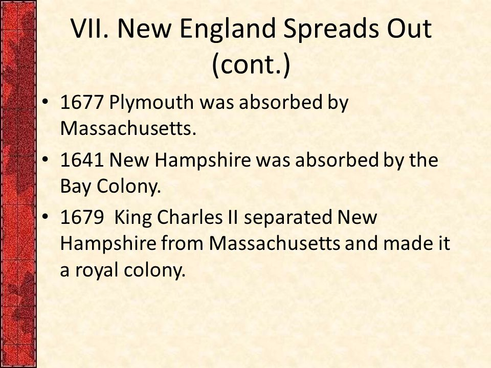 VII. New England Spreads Out (cont.) 1677 Plymouth was absorbed by Massachusetts. 1641 New Hampshire was absorbed by the Bay Colony. 1679 King Charles