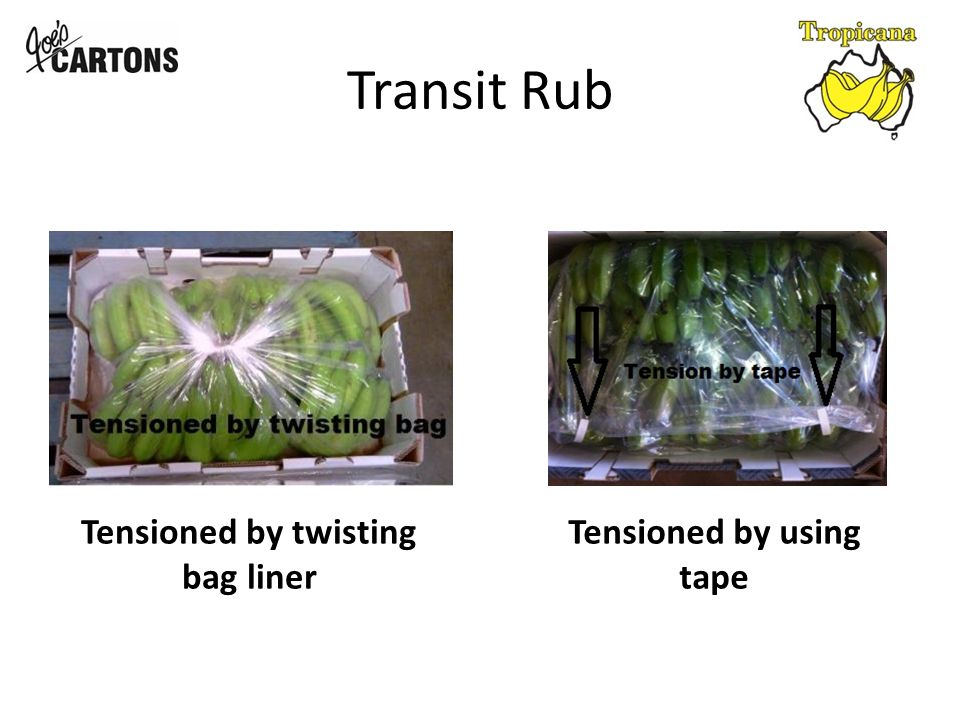 Transit Rub Tensioned by twisting bag liner Tensioned by using tape