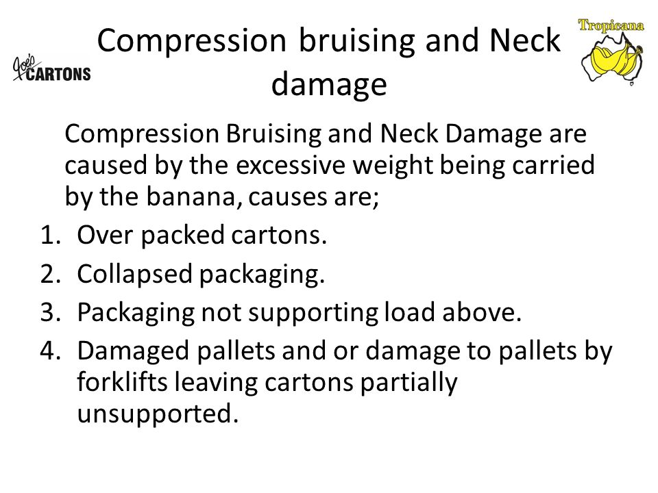 Compression bruising and Neck damage Compression Bruising and Neck Damage are caused by the excessive weight being carried by the banana, causes are; 1.Over packed cartons.