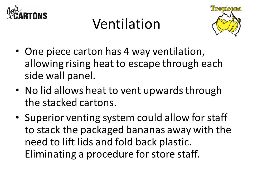 Ventilation One piece carton has 4 way ventilation, allowing rising heat to escape through each side wall panel.
