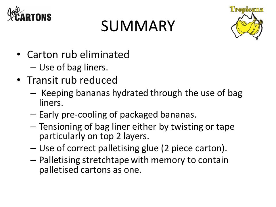 SUMMARY Carton rub eliminated – Use of bag liners.