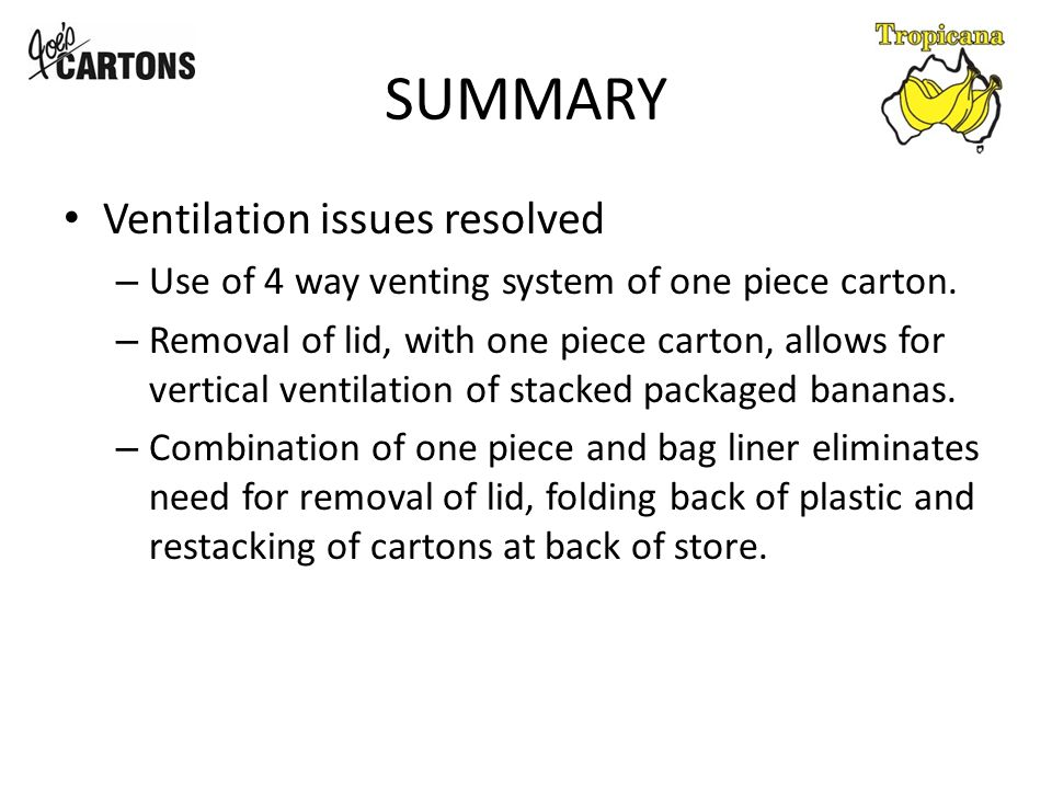 SUMMARY Ventilation issues resolved – Use of 4 way venting system of one piece carton.