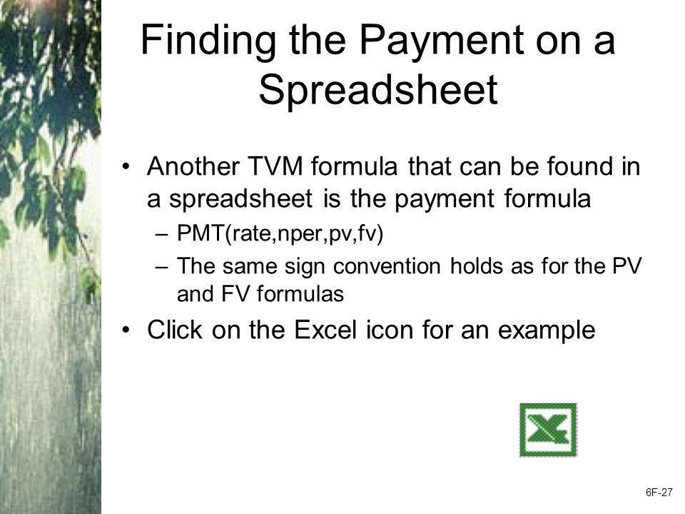 Finding the Payment on a Spreadsheet Another TVM formula that can be found in a spreadsheet is the payment formula –PMT(rate,nper,pv,fv) –The same sig