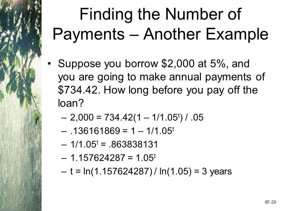 Finding the Number of Payments – Another Example Suppose you borrow $2,000 at 5%, and you are going to make annual payments of $734.42. How long befor