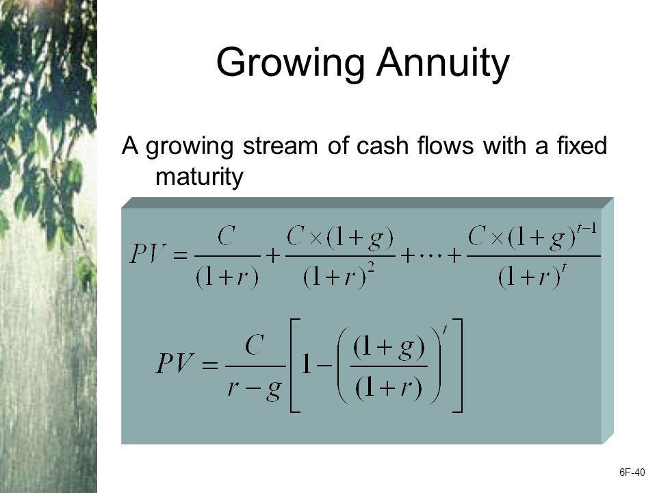 Growing Annuity A growing stream of cash flows with a fixed maturity 6F-40