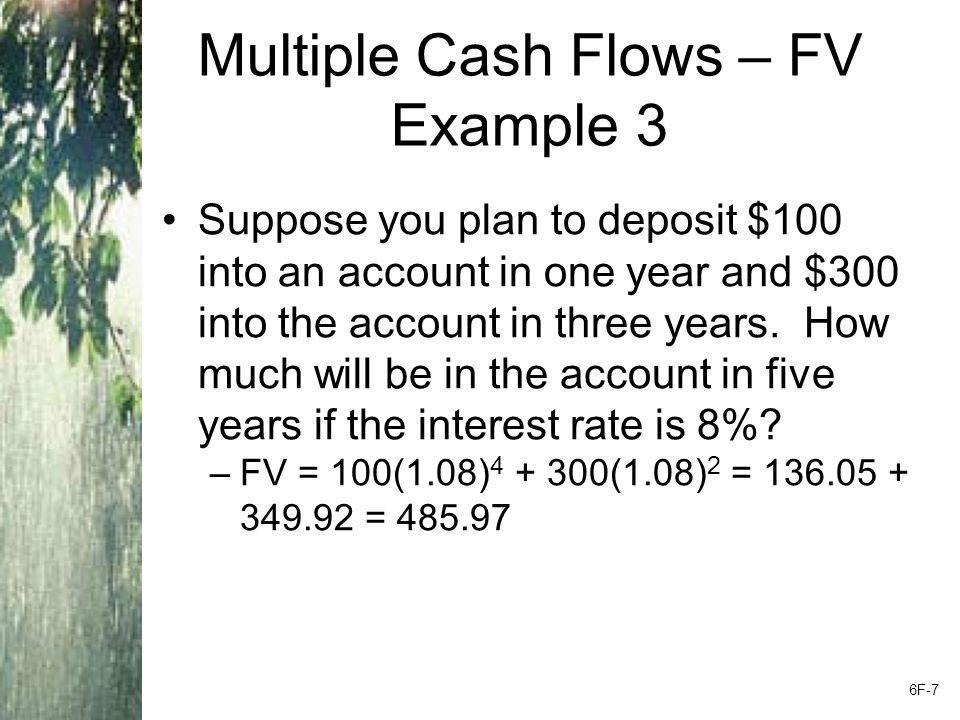 Multiple Cash Flows – Present Value Example 6.3 Find the PV of each cash flows and add them –Year 1 CF: 200 / (1.12) 1 = 178.57 –Year 2 CF: 400 / (1.12) 2 = 318.88 –Year 3 CF: 600 / (1.12) 3 = 427.07 –Year 4 CF: 800 / (1.12) 4 = 508.41 –Total PV = 178.57 + 318.88 + 427.07 + 508.41 = 1,432.93 6F-8