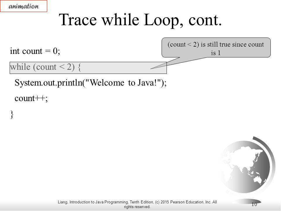 Liang, Introduction to Java Programming, Tenth Edition, (c) 2015 Pearson Education, Inc. All rights reserved. 10 Trace while Loop, cont. int count = 0