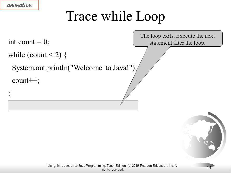 Liang, Introduction to Java Programming, Tenth Edition, (c) 2015 Pearson Education, Inc. All rights reserved. 14 Trace while Loop int count = 0; while