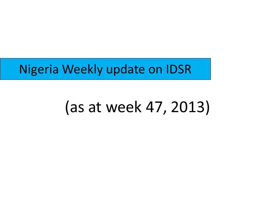 (as at week 47, 2013) Nigeria Weekly update on IDSR
