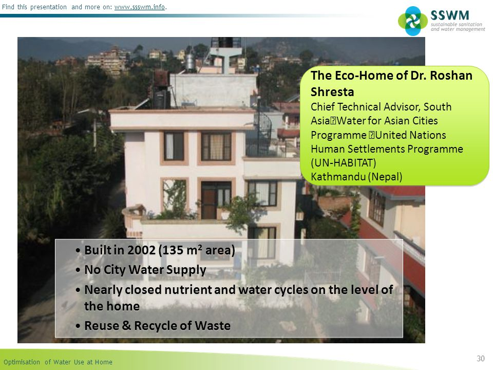 Optimisation of Water Use at Home Find this presentation and more on: www.ssswm.info.www.ssswm.info 30 Built in 2002 (135 m 2 area) No City Water Supp