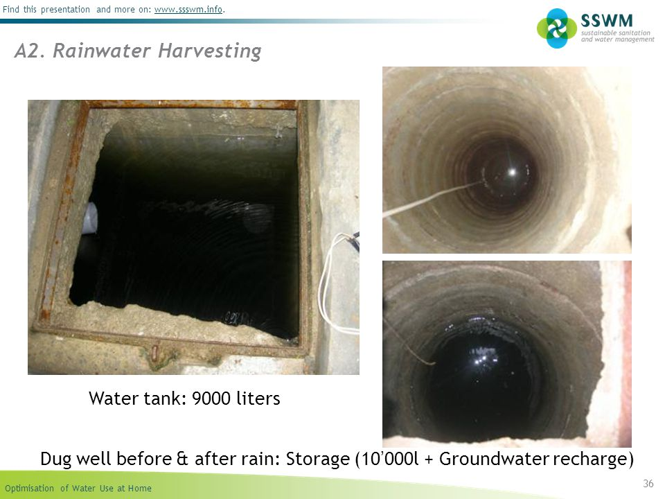 Optimisation of Water Use at Home Find this presentation and more on: www.ssswm.info.www.ssswm.info 36 A2. Rainwater Harvesting Water tank: 9000 liter