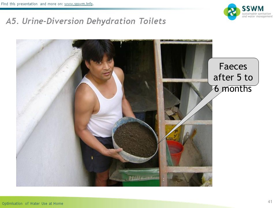 Optimisation of Water Use at Home Find this presentation and more on: www.ssswm.info.www.ssswm.info 41 Faeces after 5 to 6 months A5. Urine-Diversion