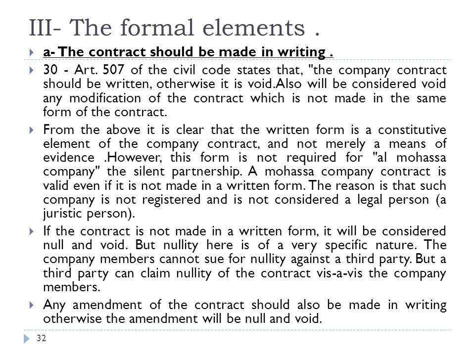 III- The formal elements.33  (b) The contract should be published.
