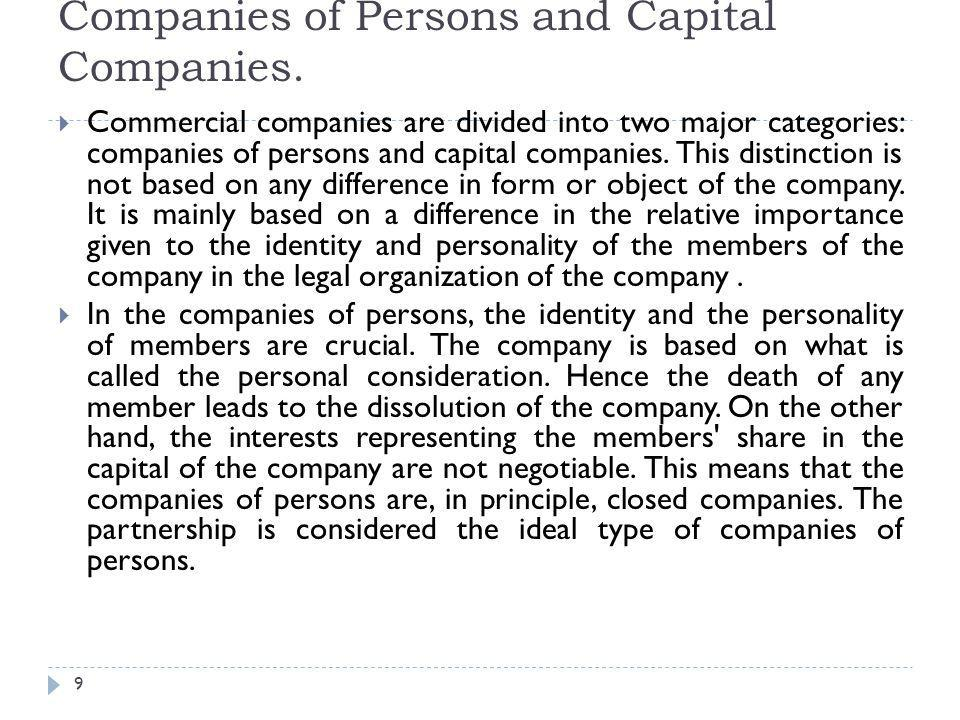 Companies of Persons and Capital Companies.