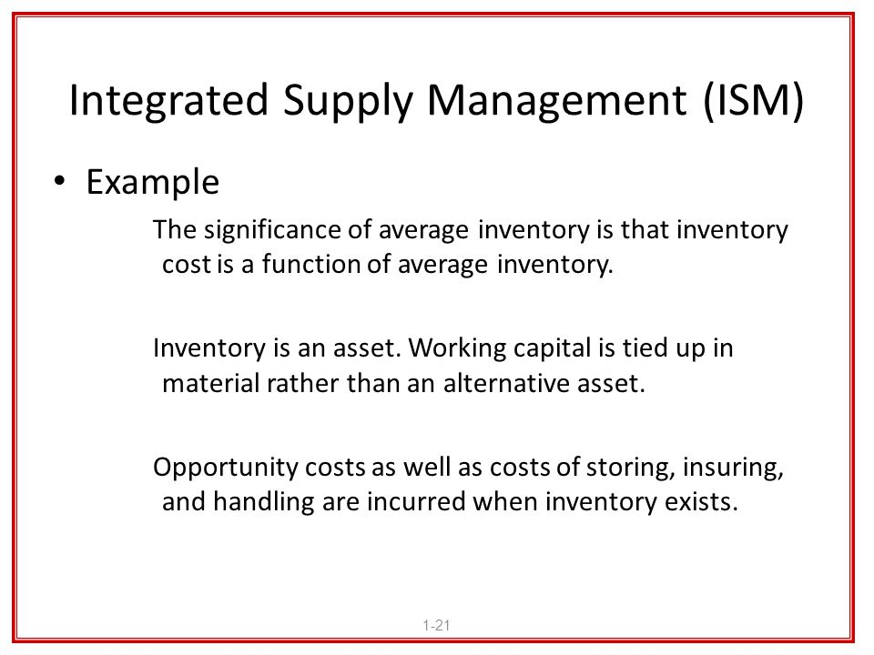 Integrated Supply Management (ISM) Example The significance of average inventory is that inventory cost is a function of average inventory. Inventory