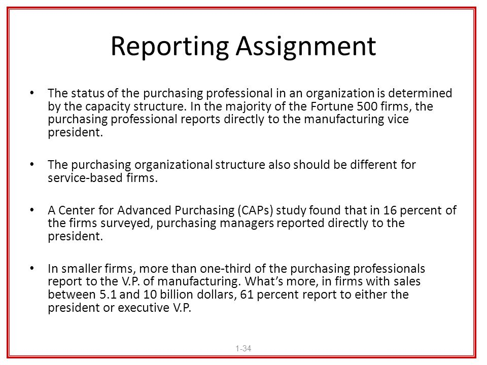 Reporting Assignment The status of the purchasing professional in an organization is determined by the capacity structure. In the majority of the Fort