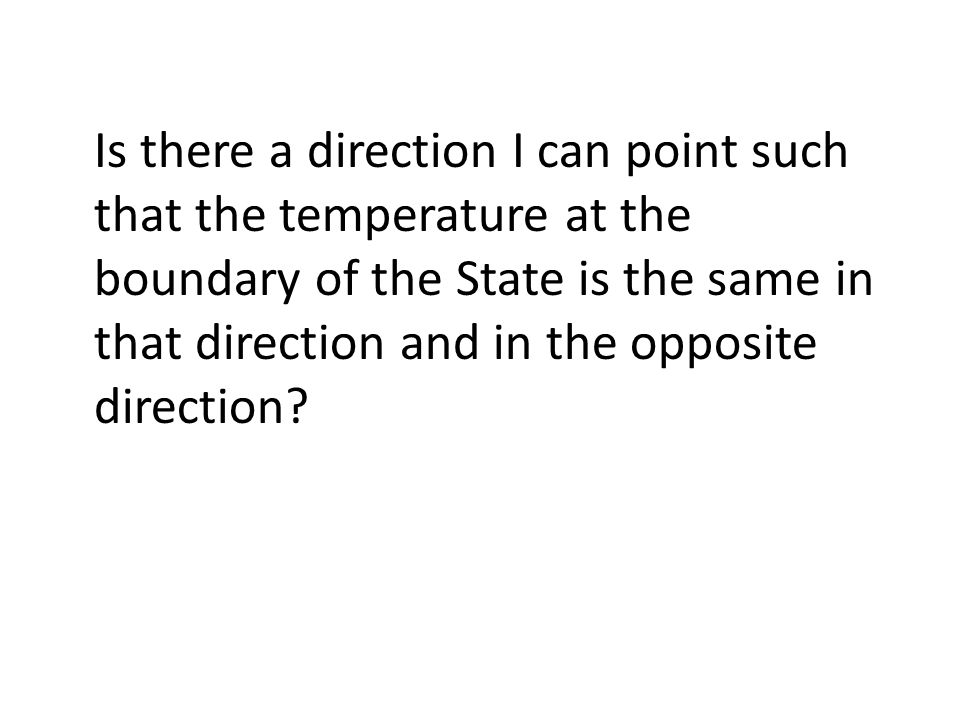Is there a direction I can point such that the temperature at the boundary of the State is the same in that direction and in the opposite direction