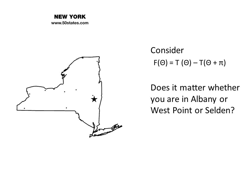 Consider F(Θ) = T (Θ) – T(Θ + π) Does it matter whether you are in Albany or West Point or Selden