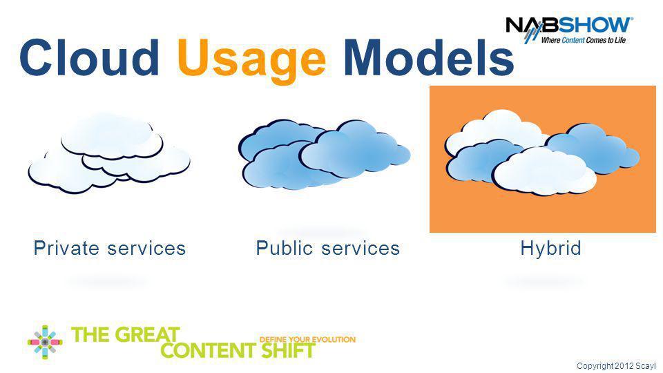 services Cloud Usage Models Public services Hybrid Private services Copyright 2012 Scayl