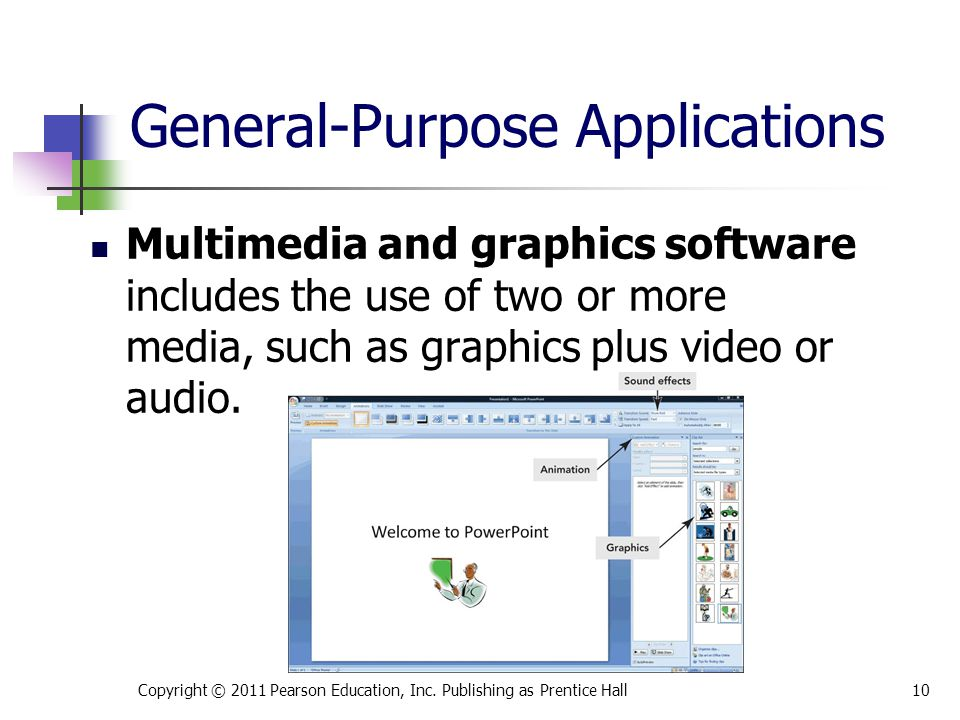 Multimedia and graphics software includes the use of two or more media, such as graphics plus video or audio.