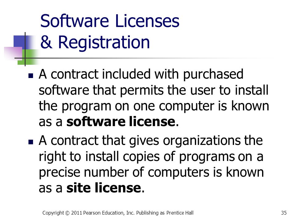 Software Licenses & Registration A contract included with purchased software that permits the user to install the program on one computer is known as a software license.